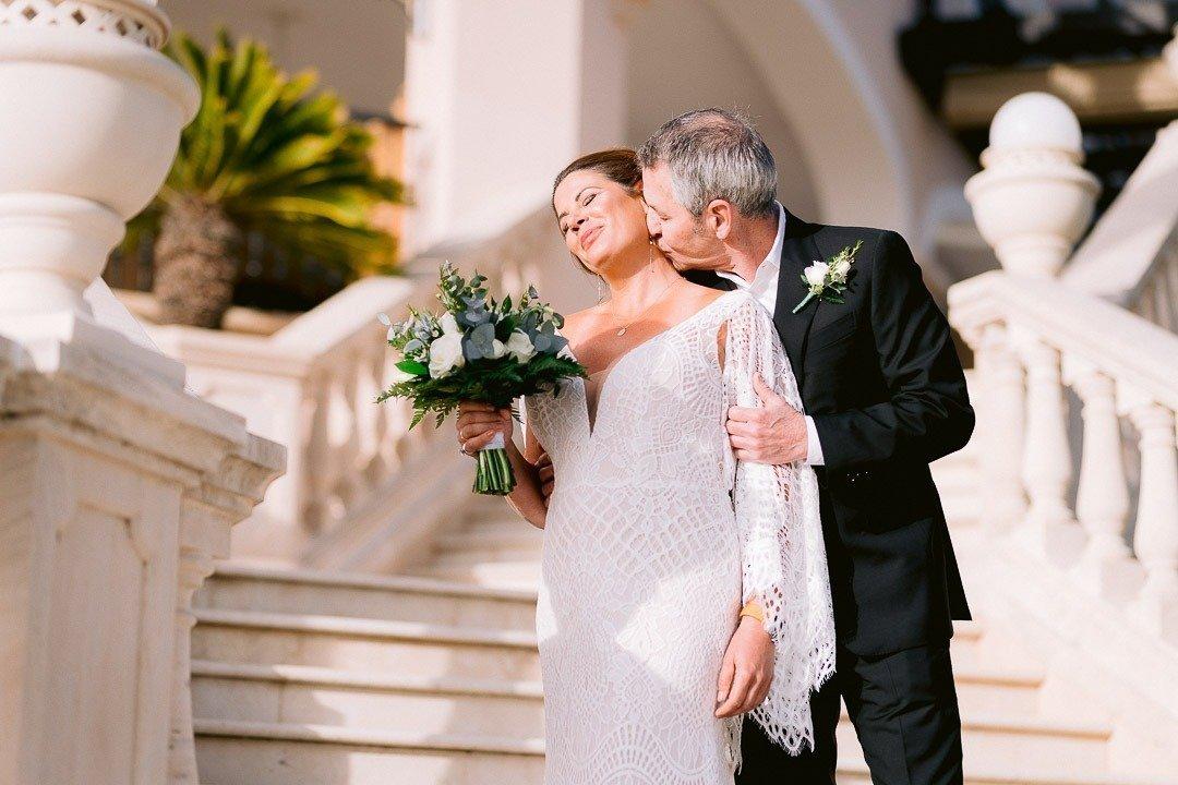 Mallorca Elopement at St. Regis Mardavall. Groom loves this bride