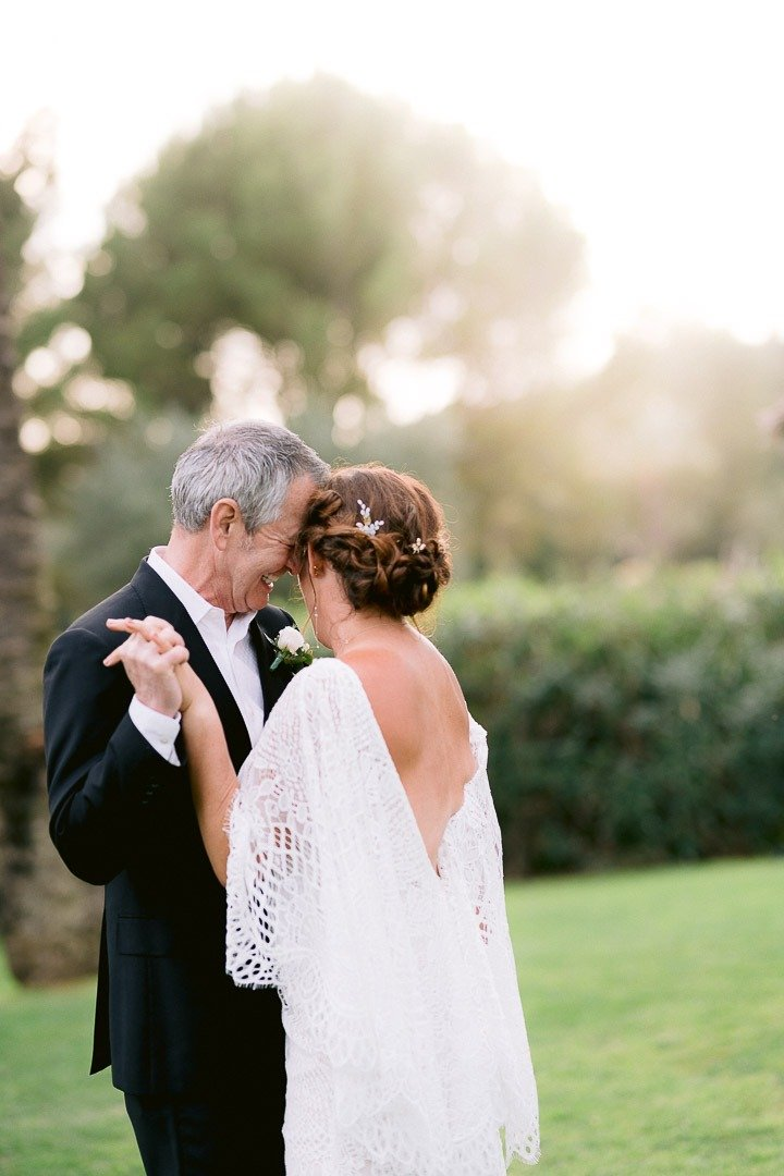 Bride and Groom dance after their ceremony at Mallorca Venue gardens