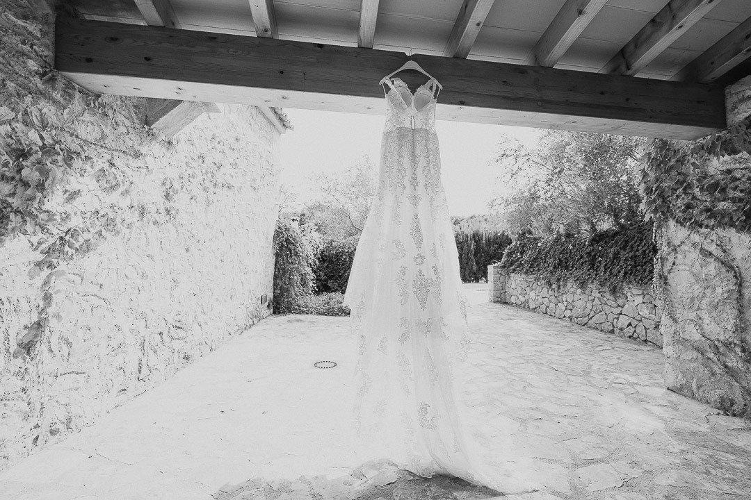 Bridal Dress ready to be put on at Mallorca Destination Wedding Photography