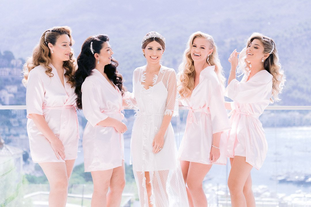 Bridal Party getting ready for a Destination Wedding in Mallorca