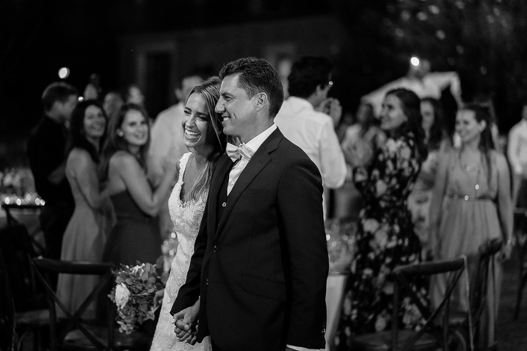 Bride and Groom arrive at the Wedding Banquet Destination Wedding Photography at Son Simo Vell Finca