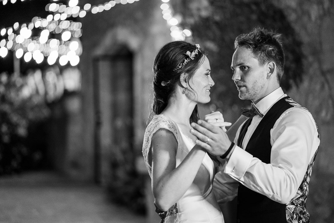 Practicing their first dance at Finca Ses Voltes Wedding Venue