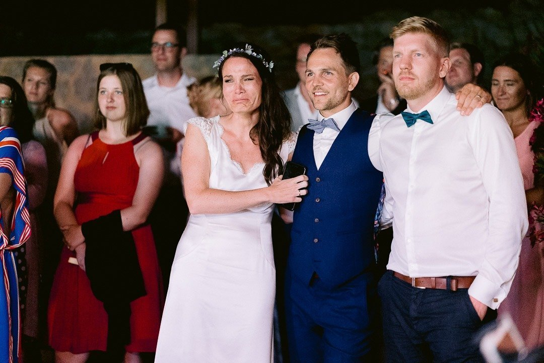 Emotionate Bride with Groom and friends at Finca Ses Voltes Wedding Venue