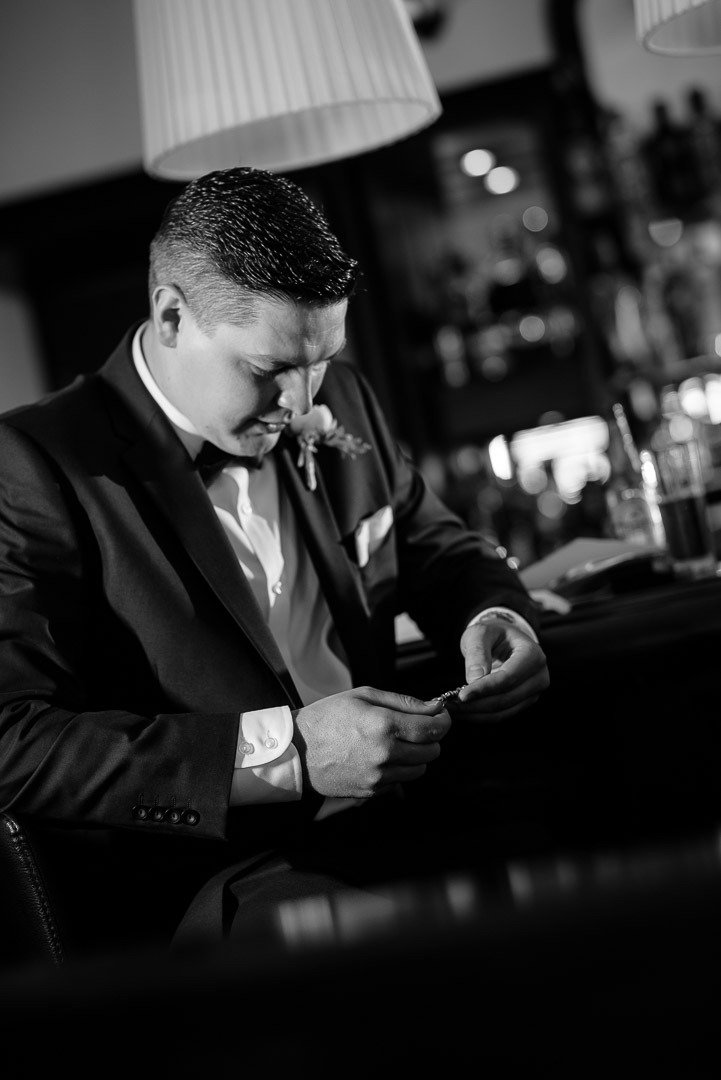 Groom very emotional receives a special letter from the bride, minutes before his Wedding in Mallorca