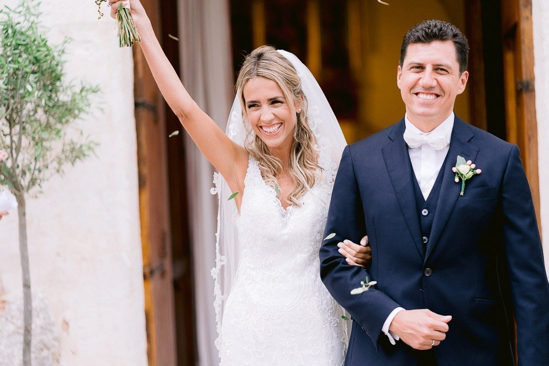 Wedding Ceremony Departure with big smiles and happiness at Mallorca Destination Wedding Photography