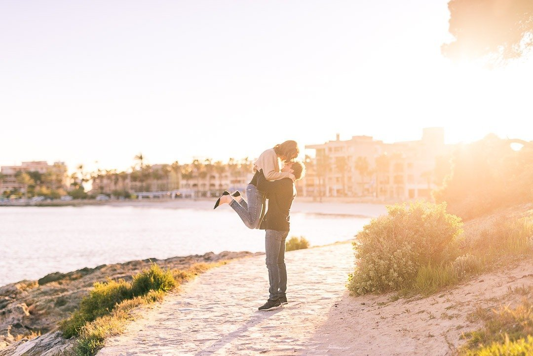 Beach Photo Sessions in Mallorca. Engagement Session in a cossy town by the coast.