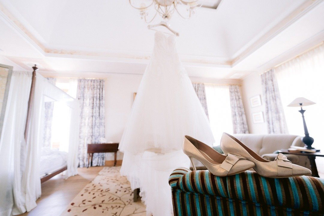 Bridal Dress hanging off chandelier Style mw Pretty