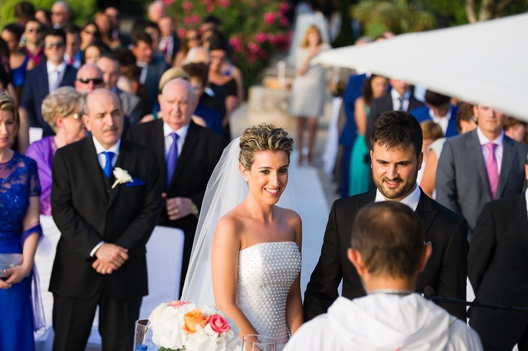 Bride and Groom at the Ceremony at Finca Son Marroig